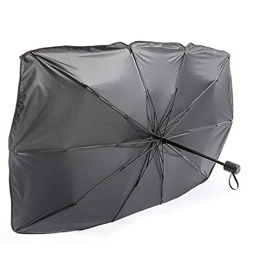 MONALA Parasol para parabrisas delantero de coche, protector solar con protección contra rayos UV, adhesivo brillante, plegable, mantiene el vehículo fresco (65 x 125 cm)
