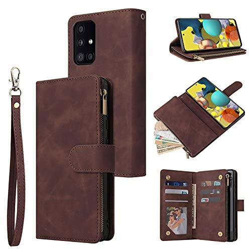 SCRENDY Étui Coque pour Samsung Galaxy A52 5G/4G, Portefeuille Housse de Protection en Cuir PU pour Femme, avec Languette Magnétique, Fentes pour Cartes, Dragonne, Café