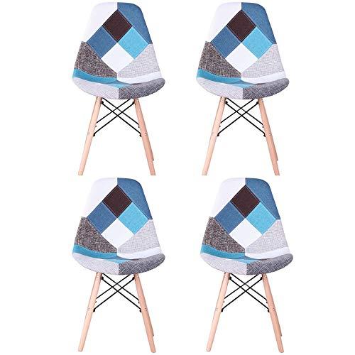 EGOONM Conjunto de 4 Sillas de Comedor de Patchwork Multicolore, Sillas de Sala de Estar de Ocio Sillas con Respaldo de cojín Suave (Azul)