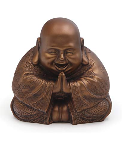 Buddha Groove Majestic and Cheerful Happy Buddha (Hotei) Statue in a Rich Bronze Color & Detailing on All Sides | Made of Polystone for Indoor Use | 7.5 x 7.5 Inches