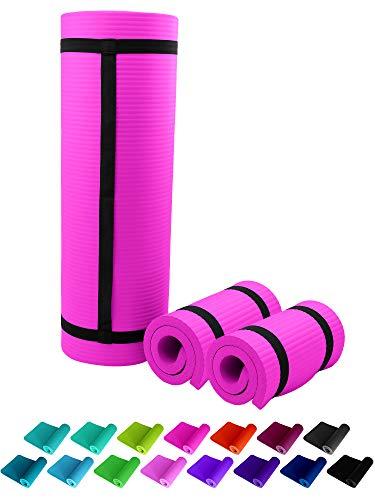 2 almohadillas de apoyo NBR de 25 x 61 cm, color rosa, 1,5 cm, con cintas, almohadilla gruesa y muy suave para rodillas, codos, caderas, hombros, fitness
