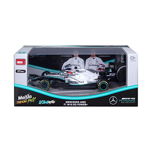 Maisto Tech R/C F1 Mercedes AMG Petronas W10 (2019): Ferngesteuertes Auto Lewis Hamilton im Maßstab 1:24, Originalgetreues Formel 1-Auto, 27 MHz, Pistolengriff-Steuerung, 22 cm, Silber (581382)