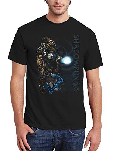 clothinx Herren T-Shirt Shadowrun Troll Schamane Schwarz Gr. L