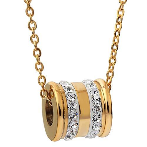 Collar para Hombre Colgante De Cadena Moda Mujer Dos Colores Moda Diseño De Acero Inoxidable Collares De Cristal Colgantes Regalos Cadena De Suéter 40625