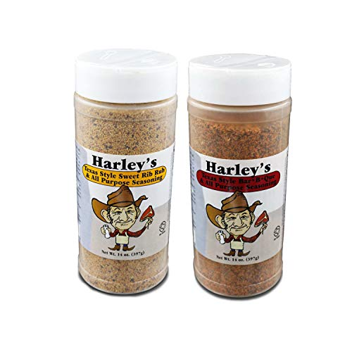 Harleys Texas Style All Purpose Seasoning Gluten-Free Shaker Bottle — Original Barbecue and Sweet Rib Rub for Chicken, Pork, Beef, Meat and Seafood — Twin Pack of 14oz (397g)