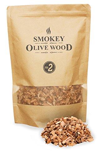Smokey Olive Wood 1.7 Liter Räucherchips aus Olivenholz, Räucherspäne mittel 5mm -1cm
