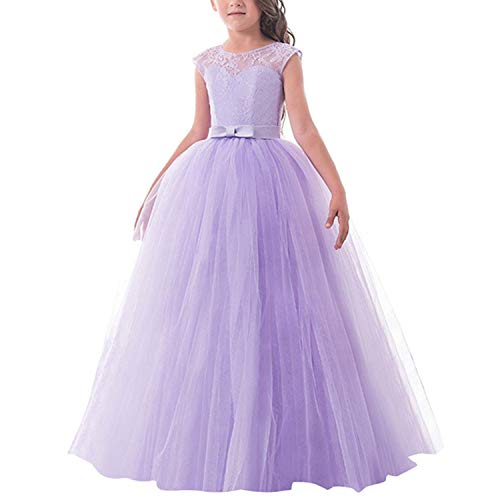 TTYAOVO Girls Pageant Ball Gowns Kids Chiffon Embroidered Wedding Party Dress Size 11-12 Years Purple