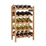 HOMECHO Bamboo Wine Rack, Floor Wine Storage Rack, 20 Bottles Holder, Freestanding Display Rack for Kitchen, Pantry, Cellar, Natural