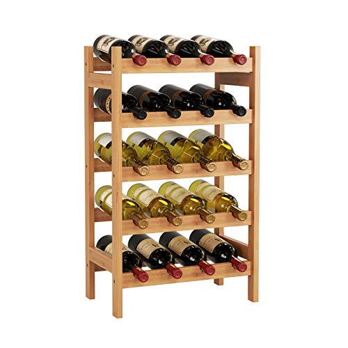 HOMECHO Bamboo Wine Rack, Floor Wine Storage Rack, 20 Bottles Holder, Freestanding Display Rack for Kitchen, Pantry, Cellar, Natural