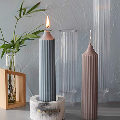 Spiral Shape Cylinder Candle Mold, 1.35''x6.04''Inch Durable Plastic Candle Mold Supplies for Wedding Dinner Candles Making
