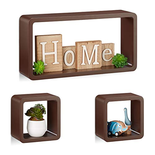Relaxdays Cube Regal, 3er Set, Schwebend, Quadratisch, Modernes Design, Hoch- & Querformat, Kinderzimmer, MDF, Braun