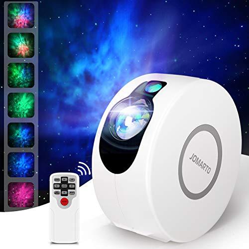 Sternenhimmel Projektor, JOMARTO 2 IN 1 LED Projektor und Nachtlicht 3 Stufens von einstellbare Geschwindigkeit und Helligkeit Projektor Lampe mit Fernbedienung Perfekt für DECO Party-Weiß