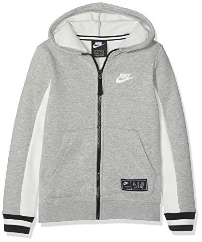 Nike Jungen B NK AIR Hoodie FZ Sweatshirt, Dk Grey Heather/Sail/Black, XS