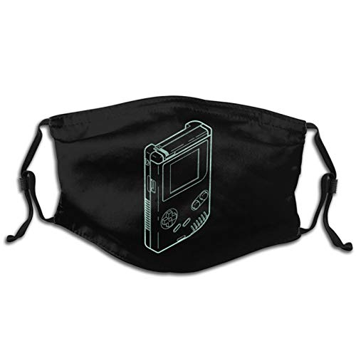 Game-Boy Outline Face Mask with 2 Filters Reusable Washable Cloth Bandana Scarf Women Men Kids Black Neck Gaiters Designer Print Shield
