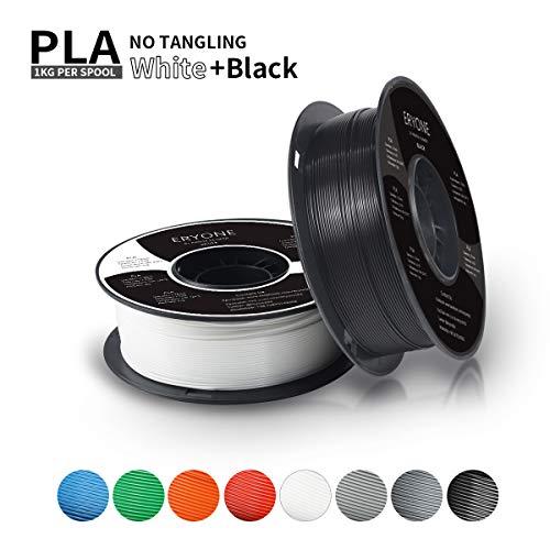 Filament PLA 1.75mm, ERYONE Filament PLA 1.75mm, 3D Printing Filament PLA for 3D printer, 2kg, 2 Spools, (1kg Black+1kg White)