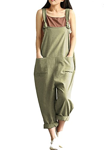 Women's Casual Jumpsuits Overalls Baggy Bib Pants Plus Size Wide Leg Rompers (3XL, Green/2)