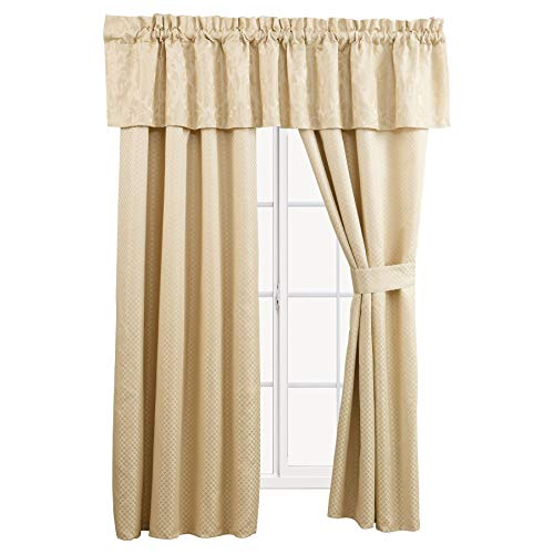 sheetsnthings Sara 5 Piece Lined Jacquard Curtain Panel Set Includes 2 Panels, 2 Tie Backs and 1 Valance