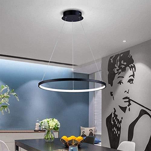 Lámpara de colgante LED, regulable de luz/brillo redonda, lámpara de mesa de comedor cocina salón, con mando a distancia, Lámpara de techo-negro_Círculo 60cm