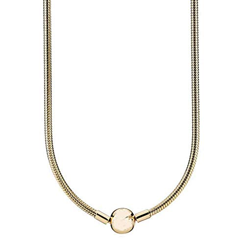 JJRQ New 925 Sterling Silver Necklace Moments Lobster Ball Clasp Smooth Snake Chain Necklace for Women Wedding Gift DIY Jewelry