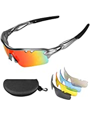 Flintronic Gepolariseerde sportzonnebril, uv-400 bescherming, fietsbril, met 5 verwisselbare lenzen, voor fietsen, hardlopen, zeilen voor dames en heren