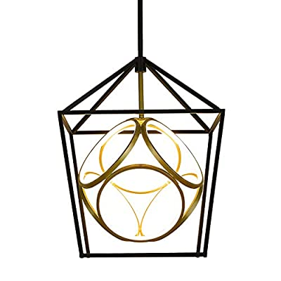 Emliviar Industrial Chandelier Light Fixture, Farmhouse 30W LED Pendant Lighting, Black and Gold Finish, JE203-LED BK+G
