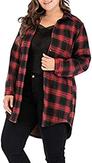 Wwucaihufafa Winter new large size women fat MM classic plaid long-sleeved shirt plus velvet women's casual jackets (Color : Red, Size : 5XL)