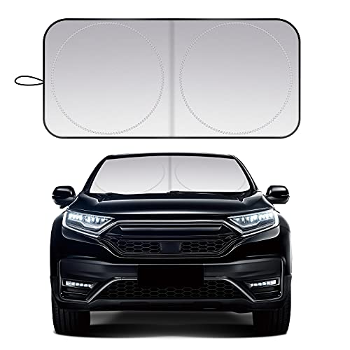 ZonCar Windshield Sun Shade fit for Most Sports Car Truck SUV Vans, Blocks UV Rays Sun Visor Protector, Foldable Car Front Window Sunshade Heat Shield Reflector Cover ( 63 x 36 in / 160 x 90 cm )