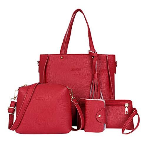 Goddessvan Woman Bag 2019 Fashion 4 Piece Shoulder Bag Messenger Bag Wallet Handbag Composite Bag Red