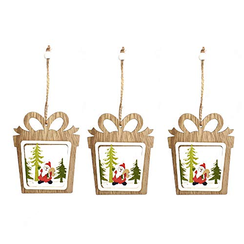 Anjing 3Pcs Christmas Tree Ornaments Laser Hollow Wooden Bells Five-Pointed Star Gift Santa Claus Christmas Decorations