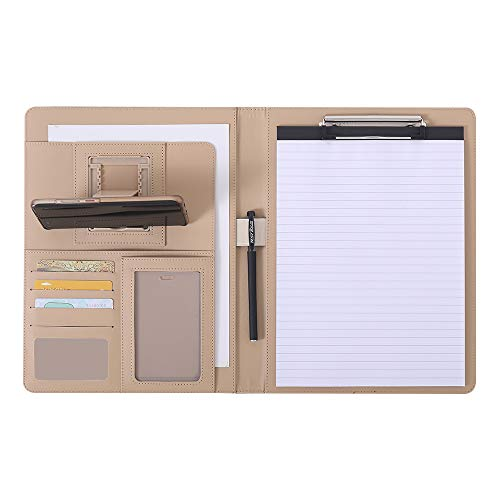 Padfolio/Leather Portfolio Folder - Leather Storage Portfolio with Tablet Sleeve, Clipboard Binder and Phone/Tablet Holder, Lightweight & Stylish Business Portfolio Gifts for Family and Friends-Brown