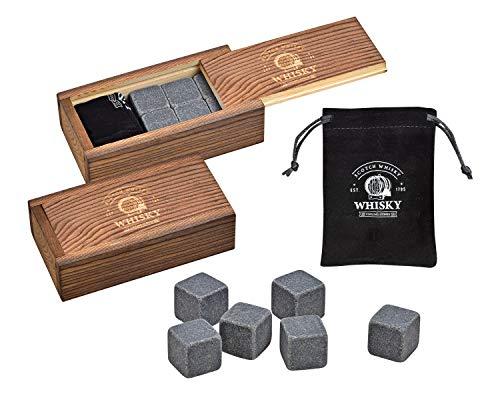 WOMA Whisky Steine Set – 6 & 12 Eiswürfel wiederverwendbar aus Basalt mit Samtbeutel und hochwertiger Holzbox – Whiskey Steine Geschmacksneutral & Kein Verwässern für Whiskey, Wodka, Gin & Mehr