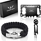 Credit Card Tool Gift Set – Tactical Pocket Tool Gadgets for Men | Survival Gear w/Paracord Bracelet + Card Tool + Beer Bottle Opener Keychain | Birthday Gifts for Men, Christmas Stocking Stuffer