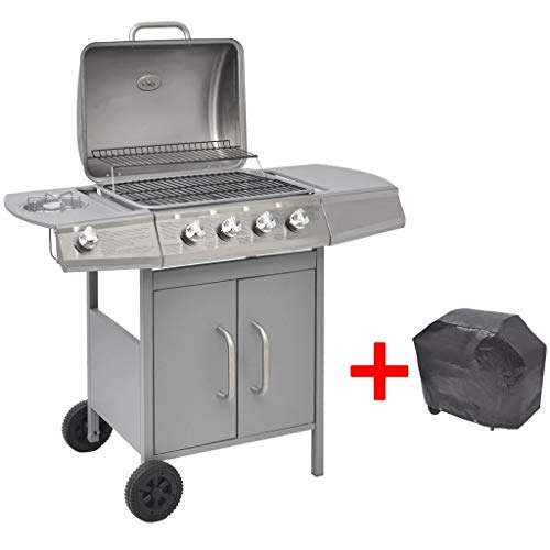 41bthraqqQL. SS500  - mewmewcat Gas Barbecue Grill 4+1 Burner Garden Grill Cooking Zone with Side Table Silver
