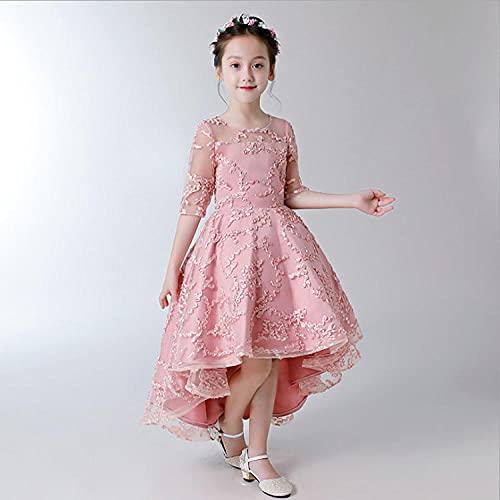 SUNXC Niña Vestido Elegante de Dama de Honor, Vestido Infantil Princesa Dress-Pink_110cm, Niña Cosply Cumpleaños Vestido de Princesa