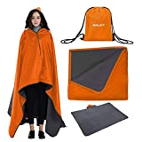 INRLKIT Camping Blanket, Waterproof Windproof Outdoor Fleece Blanket, Warm Blanket for Cold Weather Camping, Beach, Picnic, Sports, Stadium, Travel, Large/Small Size with a Drawstring Backpack(Orange)
