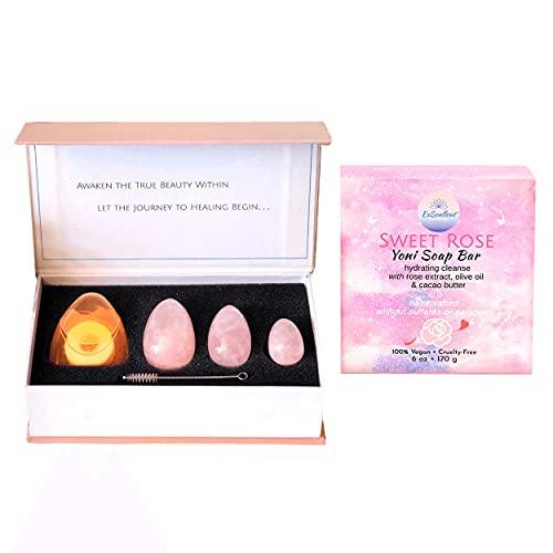 ExSoullent Yoni Eggs & Soap Bundle - Rose Quartz Yoni Eggs Certified and Sweet Rose Yoni Soap   Soothe. Rejuvenate. Heal