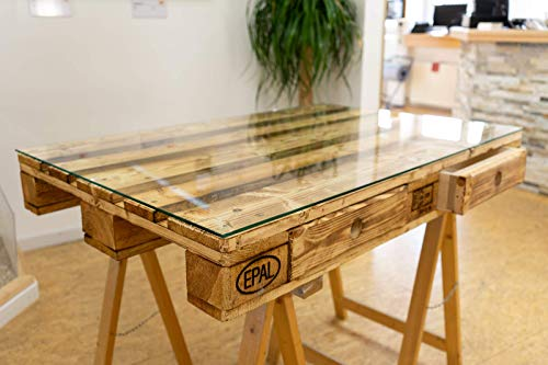 MySpiegel.de Glasplatte Glasscheibe für Euro Palettenmöbel 6mm 120x80 cm Polierte Kante Ecken gestoßen Durchsichtig Klar Glasboden Glastisch