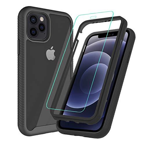 SEEKFULL Schutzhülle für iPhone 12 Pro Max, schwarz, mit 2 x Bildschirmschutzfolie aus gehärtetem Glas, Komplettschutz für iPhone 12 Pro Max