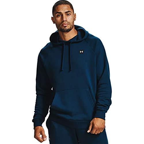 Under Armour RIVAL FLEECE HOODIE, sportlicher Kapuzenpullover mit loser Passform, bequemes und warmes Sweatshirt für Männer Herren, Academy / Onyx White , XL