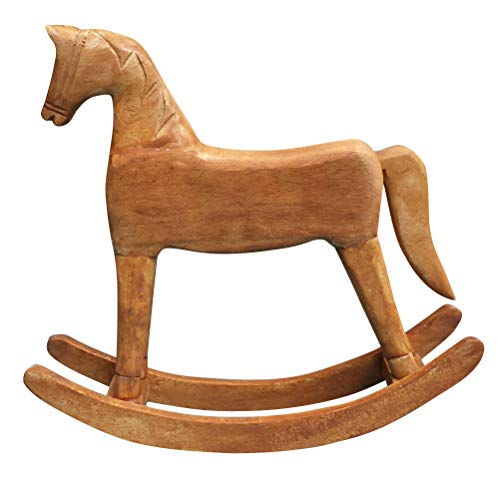 VOSAREA Wooden Rocking horse Toy for Toddlers Kids Nursery Room Decor Baby Rocking Toy Ride Animal Wood Craft Table Decoration 18x6x18cm