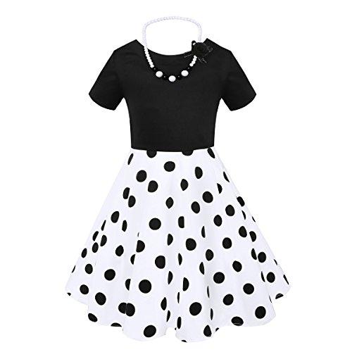 HBBMagic Kurzarm Rockabilly 50er Vintage Retro Kleid mädchen Baumwolle Kleid Polka Dots Faltenrock mit Halskette Zubehör Geschenke für Kinder ,8 Jahre,Weiß / Schwarzer Tupfen