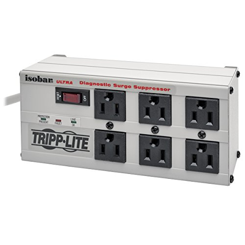 Tripp Lite ISOBAR6Ultra Isobar 6 Outlet Surge Protector Power Strip, 6ft Cord, Right-Angle Plug, Metal, Lifetime Limited Warranty & $50,000 Insurance