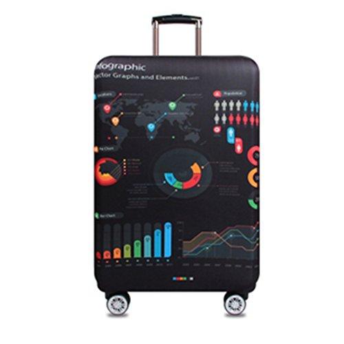 YianBestja Elastisch Kofferhülle Kofferschutzhülle Gepäck Cover Reisekoffer Hülle Koffer Schutzhülle Luggage Cover mit Reißverschluss (Big Data, XL (29-32 Zoll))