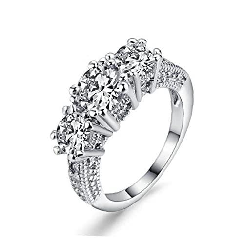 Ruluti Frauen Verlobungsring Weiß Saphir-Dame-Finger-Ring 10k Weißes Gold Füllte Ring Schmuck Ehering DREI Stein Verlobungsring Größe 8