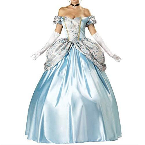 Señoras Halloween Traje Adulto Nieve Vestido Blanco Cinderella Traje De Baile Rendimiento Traje De Noche Vestido,Blue,L