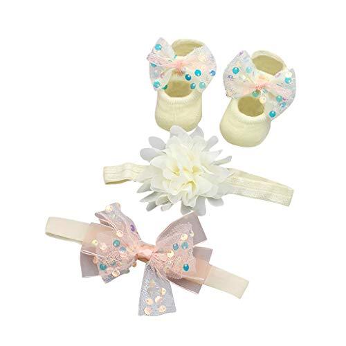 FiedFikt süßes Baby Haarband 0-6 Monate Mädchen Schuh Sneaker Anti-Rutsch weiche Sohle Baby Haarband Schuh Geschenkset a