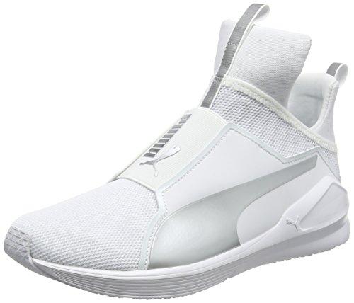 PUMA Damen Fierce Core Hallenschuhe, Weiß (White-Silver), 41 EU