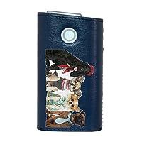 glo グロー グロウ 専用 レザーケース レザーカバー タバコ ケース カバー 合皮 ハードケース カバー 収納 デザイン 革 皮 BLUE ブルー 動物 犬 写真 009810