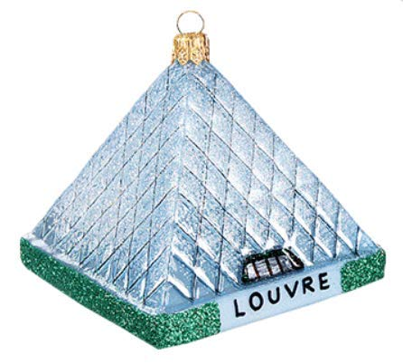 France Souvenir Paris Louvre Art Museum Travel Historic Landmark Pyramid Polish Glass Christmas Ornament