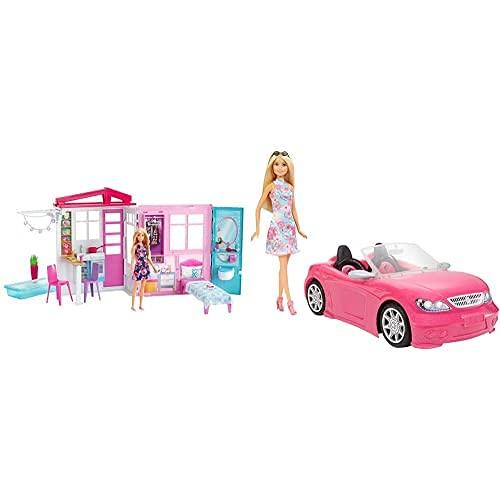 Barbie Casa Amueblada Pleglable con Cocina, Piscina, Dormitorio Y Lavabo con Muñeca Rubia (Mattel Fxg55), Embalaje Estándar + Muñeca Y Su Coche Descapotable (Mattel Fpr57) , Color/Modelo Surtido